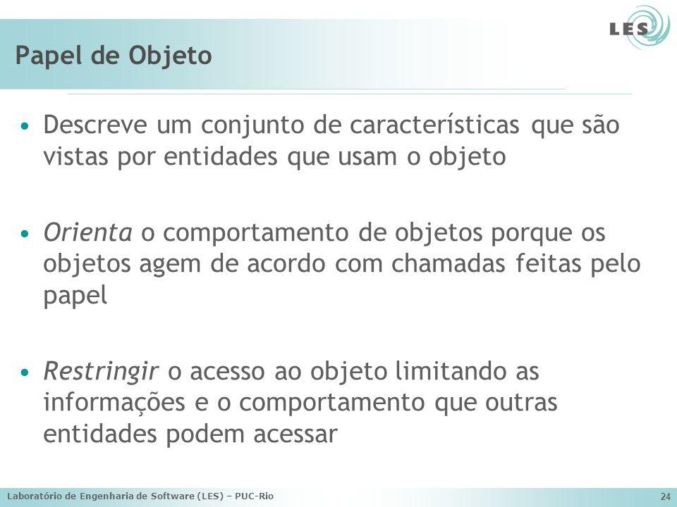 Laboratório de Engenharia de Software (LES) – PUC-Rio 24 Papel de Objeto Descreve um conjunto de características que são vistas por entidades que usam