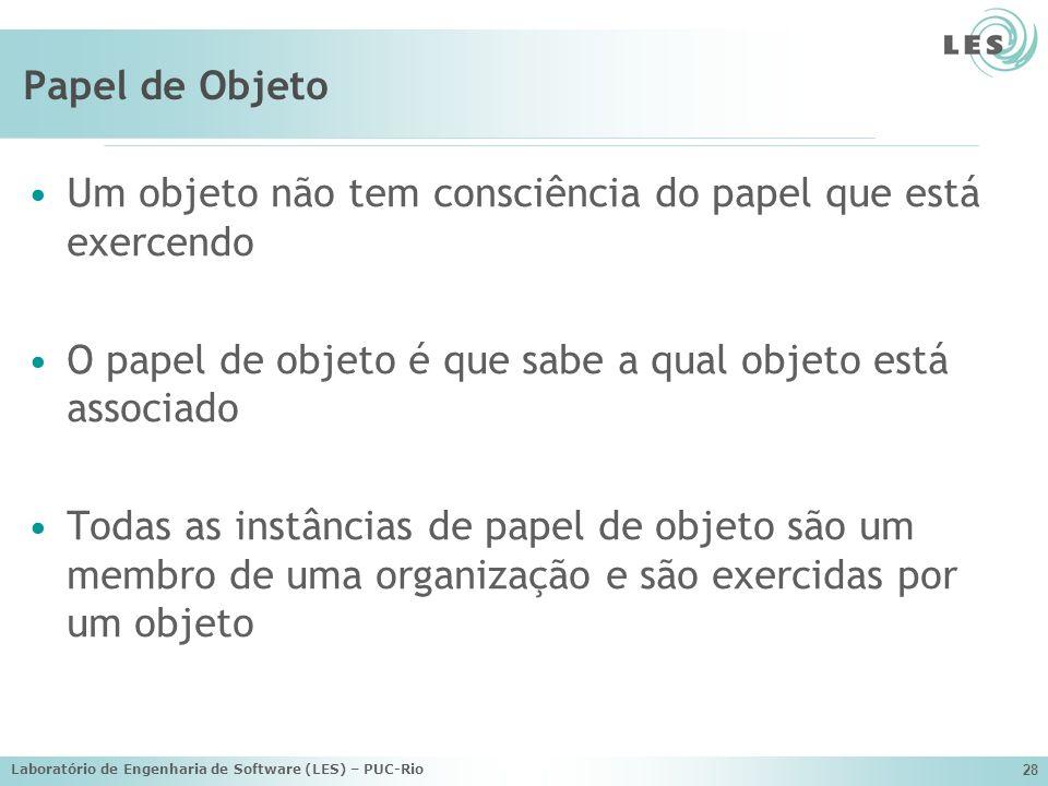Laboratório de Engenharia de Software (LES) – PUC-Rio 28 Papel de Objeto Um objeto não tem consciência do papel que está exercendo O papel de objeto é