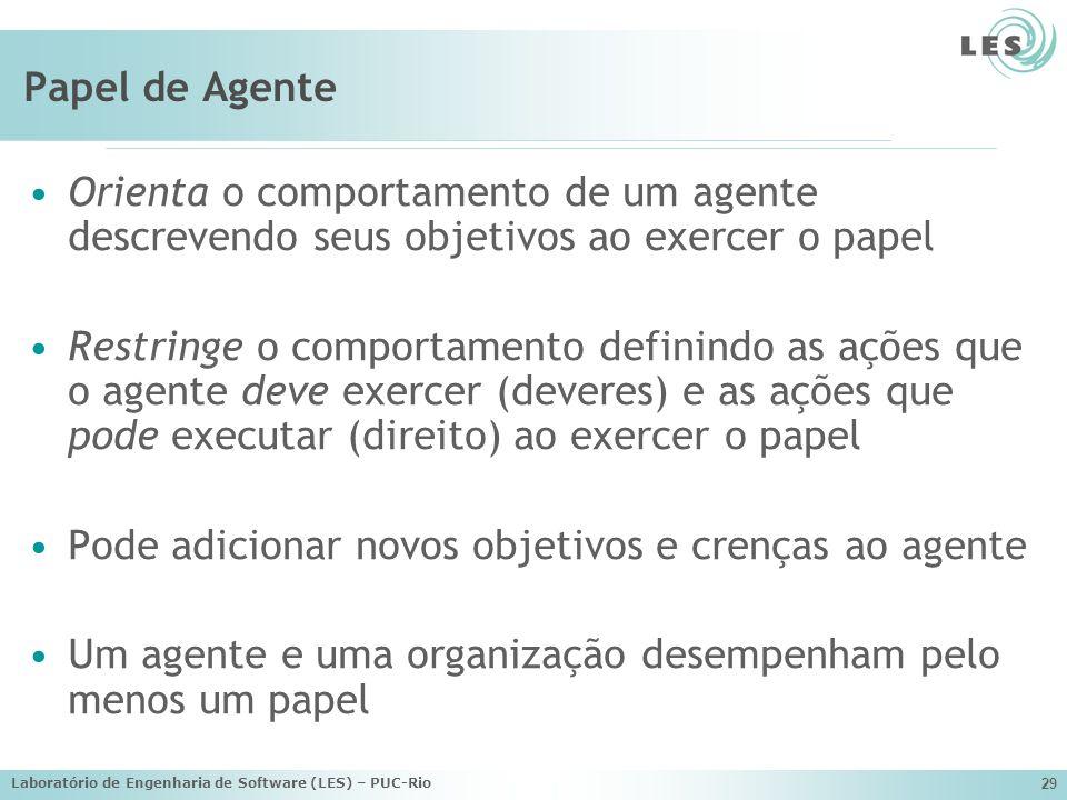 Laboratório de Engenharia de Software (LES) – PUC-Rio 29 Papel de Agente Orienta o comportamento de um agente descrevendo seus objetivos ao exercer o