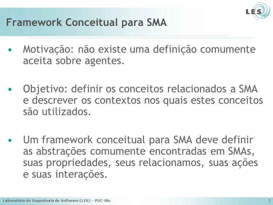 Laboratório de Engenharia de Software (LES) – PUC-Rio 4 Alguns Frameworks Conceituais para SMAs TAO (Silva et al., 2003) d Inverno e Luck (d Inverno et al., 2001) Yu e Schmid (Yu et al., 1999), KAoS (Dardenne et al., 1993)