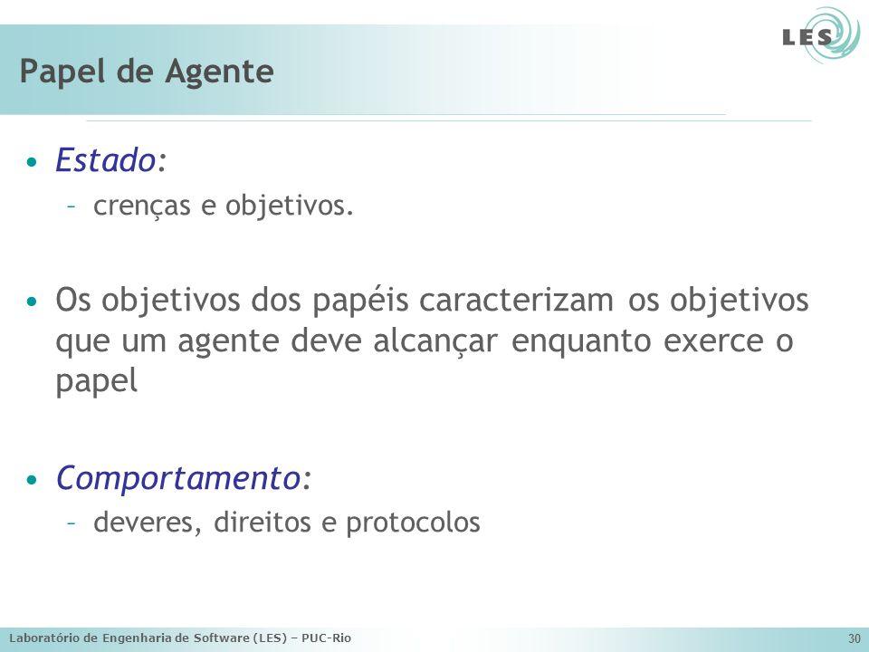 Laboratório de Engenharia de Software (LES) – PUC-Rio 30 Papel de Agente Estado: –crenças e objetivos. Os objetivos dos papéis caracterizam os objetiv