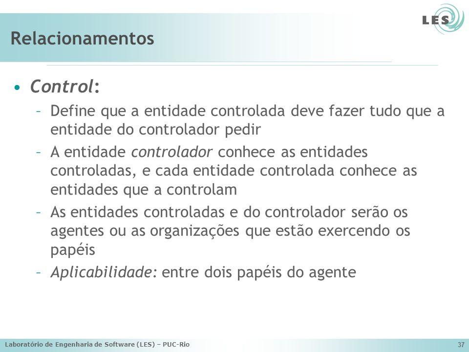 Laboratório de Engenharia de Software (LES) – PUC-Rio 37 Relacionamentos Control: –Define que a entidade controlada deve fazer tudo que a entidade do