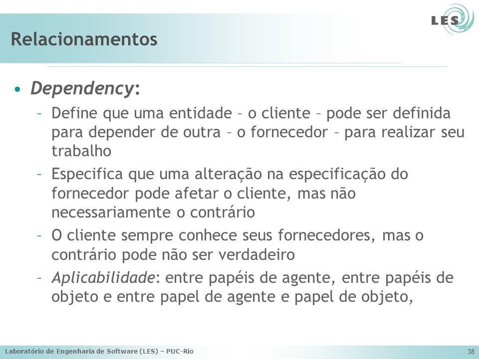 Laboratório de Engenharia de Software (LES) – PUC-Rio 38 Relacionamentos Dependency: –Define que uma entidade – o cliente – pode ser definida para dep