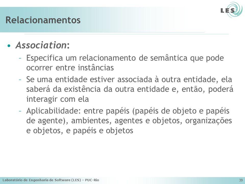 Laboratório de Engenharia de Software (LES) – PUC-Rio 39 Relacionamentos Association: –Especifica um relacionamento de semântica que pode ocorrer entr