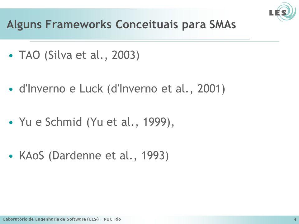 Laboratório de Engenharia de Software (LES) – PUC-Rio 4 Alguns Frameworks Conceituais para SMAs TAO (Silva et al., 2003) d'Inverno e Luck (d'Inverno e