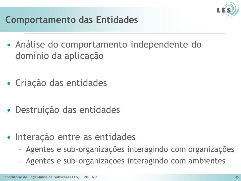 Laboratório de Engenharia de Software (LES) – PUC-Rio 45 Comportamento das Entidades Análise do comportamento independente do domínio da aplicação Cri