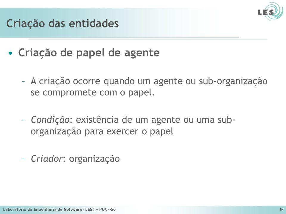 Laboratório de Engenharia de Software (LES) – PUC-Rio 46 Criação das entidades Criação de papel de agente –A criação ocorre quando um agente ou sub-or