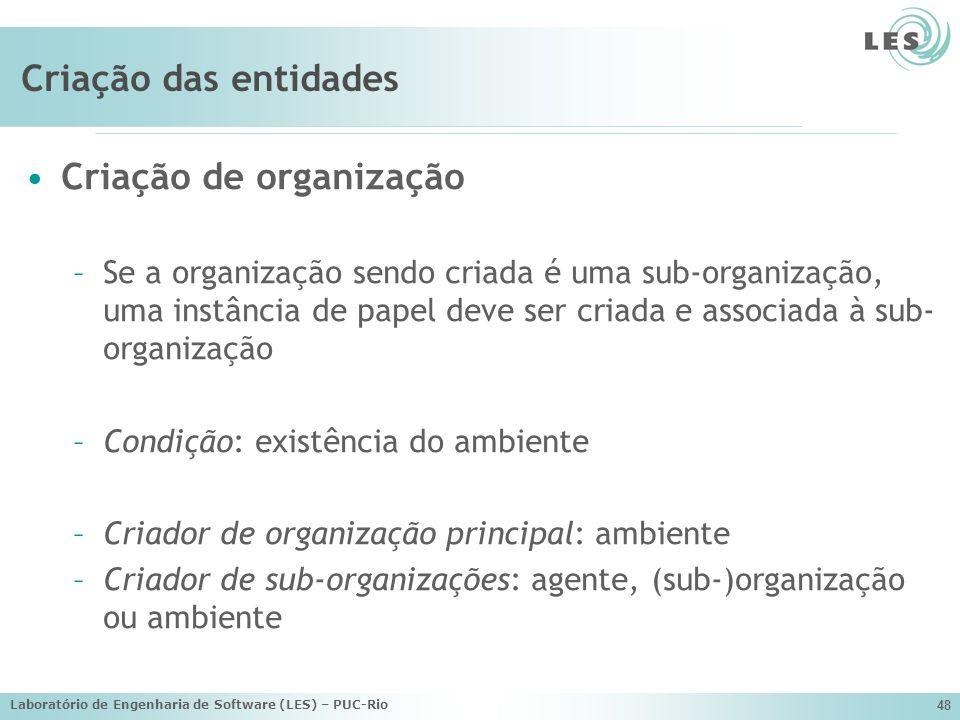 Laboratório de Engenharia de Software (LES) – PUC-Rio 48 Criação das entidades Criação de organização –Se a organização sendo criada é uma sub-organiz