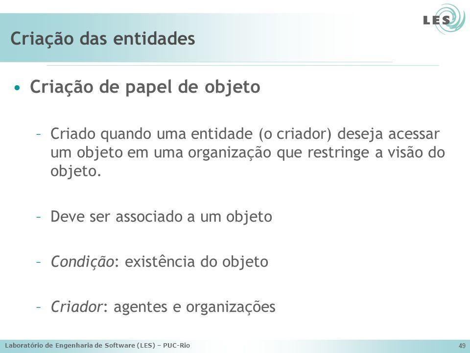 Laboratório de Engenharia de Software (LES) – PUC-Rio 49 Criação das entidades Criação de papel de objeto –Criado quando uma entidade (o criador) dese
