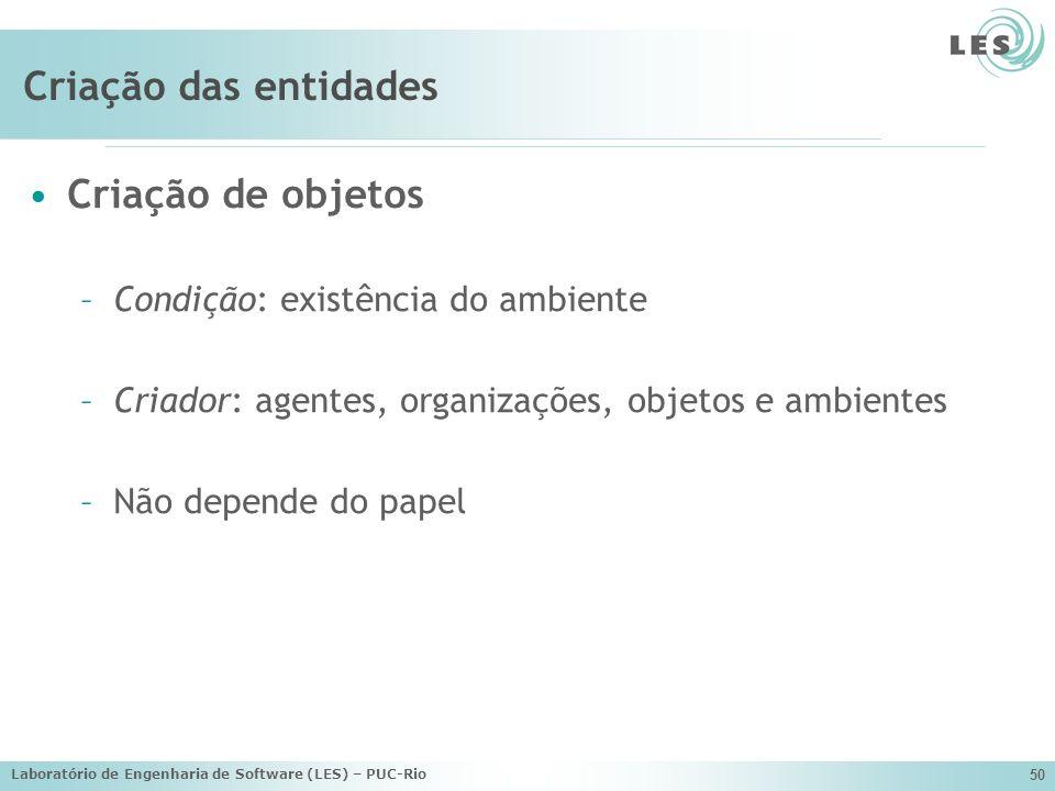 Laboratório de Engenharia de Software (LES) – PUC-Rio 50 Criação das entidades Criação de objetos –Condição: existência do ambiente –Criador: agentes,