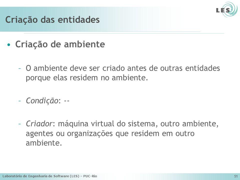 Laboratório de Engenharia de Software (LES) – PUC-Rio 51 Criação das entidades Criação de ambiente –O ambiente deve ser criado antes de outras entidad