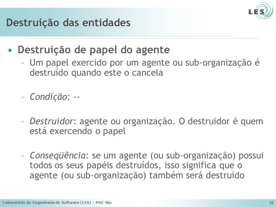 Laboratório de Engenharia de Software (LES) – PUC-Rio 52 Destruição das entidades Destruição de papel do agente –Um papel exercido por um agente ou su