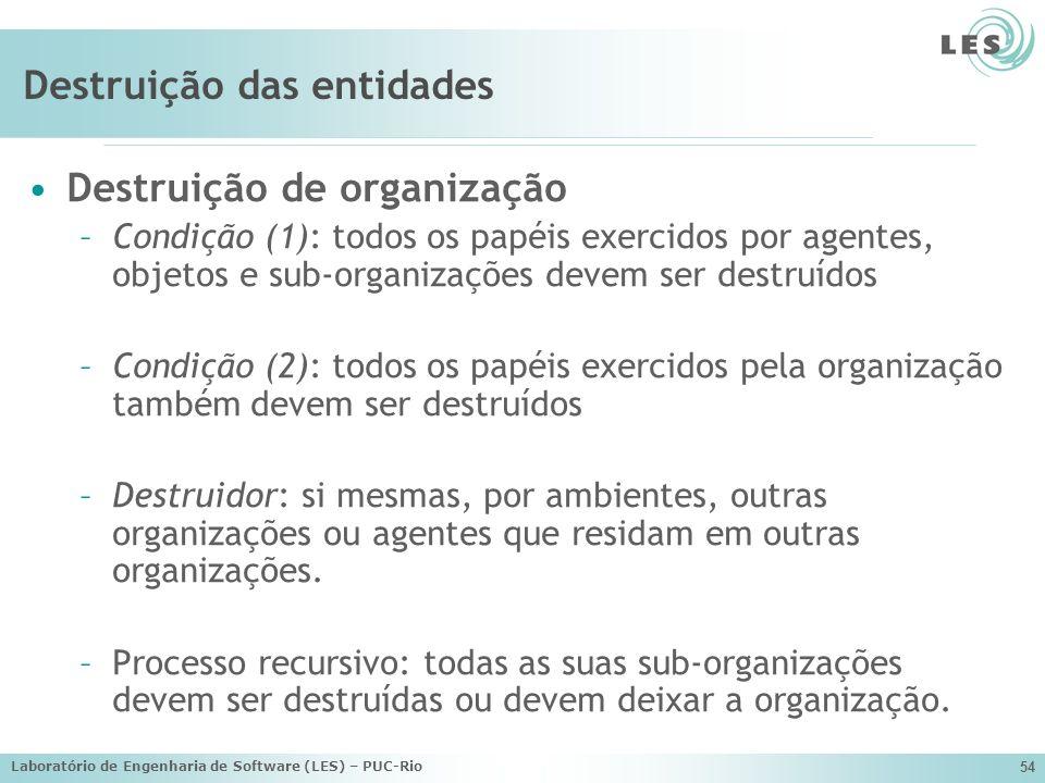 Laboratório de Engenharia de Software (LES) – PUC-Rio 54 Destruição das entidades Destruição de organização –Condição (1): todos os papéis exercidos p