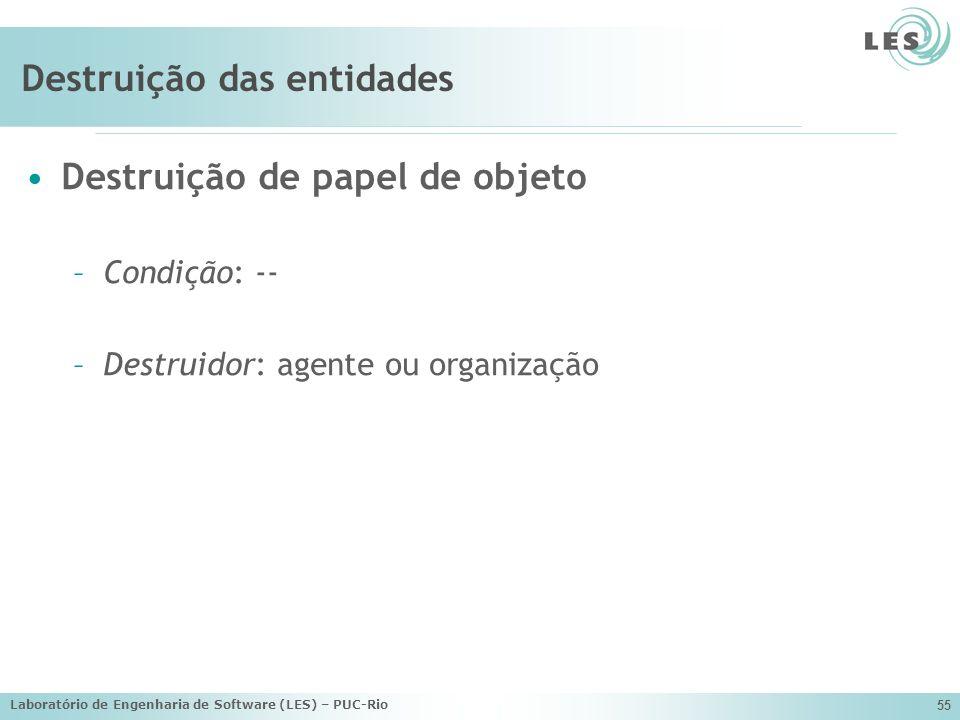 Laboratório de Engenharia de Software (LES) – PUC-Rio 55 Destruição das entidades Destruição de papel de objeto –Condição: -- –Destruidor: agente ou o
