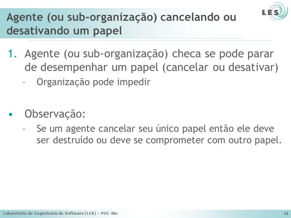 Laboratório de Engenharia de Software (LES) – PUC-Rio 64 Agente (ou sub-organização) cancelando ou desativando um papel 1.Agente (ou sub-organização)