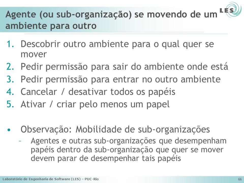 Laboratório de Engenharia de Software (LES) – PUC-Rio 66 Agente (ou sub-organização) se movendo de um ambiente para outro 1.Descobrir outro ambiente p