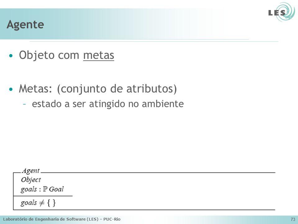 Laboratório de Engenharia de Software (LES) – PUC-Rio 73 Agente Objeto com metas Metas: (conjunto de atributos) –estado a ser atingido no ambiente