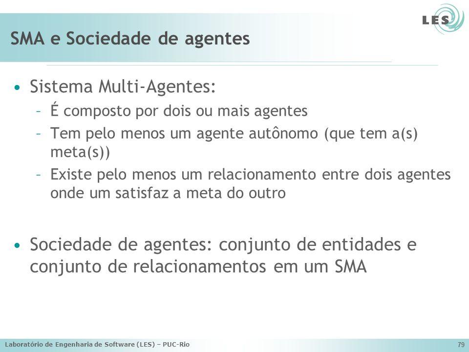 Laboratório de Engenharia de Software (LES) – PUC-Rio 79 SMA e Sociedade de agentes Sistema Multi-Agentes: –É composto por dois ou mais agentes –Tem p