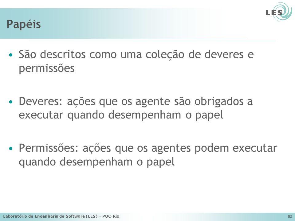 Laboratório de Engenharia de Software (LES) – PUC-Rio 83 Papéis São descritos como uma coleção de deveres e permissões Deveres: ações que os agente sã