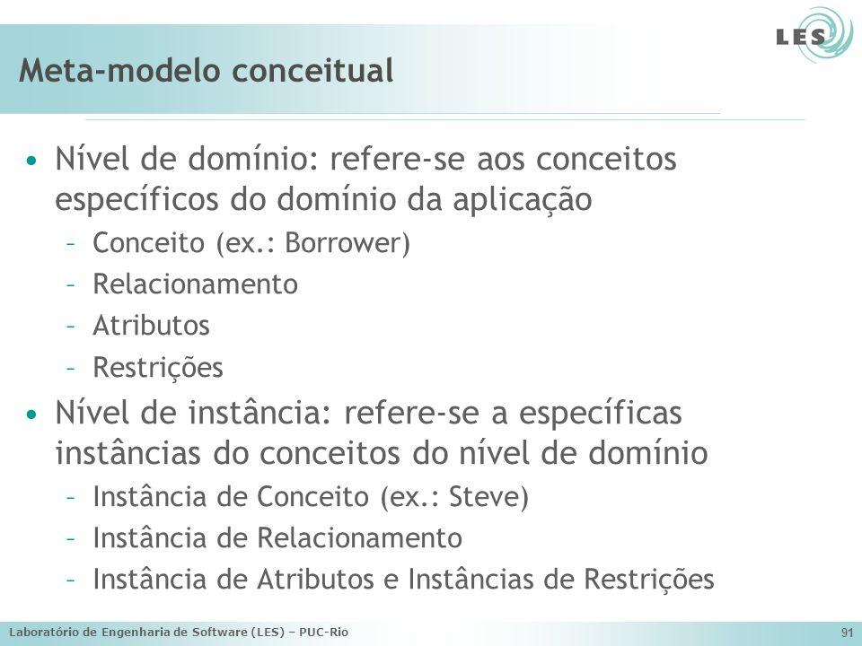 Laboratório de Engenharia de Software (LES) – PUC-Rio 91 Meta-modelo conceitual Nível de domínio: refere-se aos conceitos específicos do domínio da ap