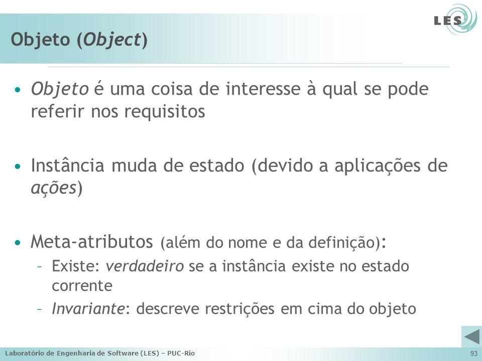 Laboratório de Engenharia de Software (LES) – PUC-Rio 93 Objeto (Object) Objeto é uma coisa de interesse à qual se pode referir nos requisitos Instânc