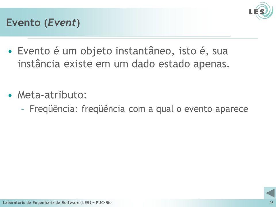 Laboratório de Engenharia de Software (LES) – PUC-Rio 96 Evento (Event) Evento é um objeto instantâneo, isto é, sua instância existe em um dado estado