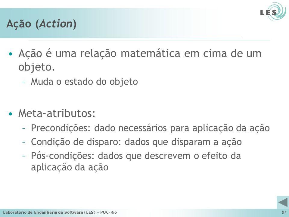 Laboratório de Engenharia de Software (LES) – PUC-Rio 97 Ação (Action) Ação é uma relação matemática em cima de um objeto. –Muda o estado do objeto Me