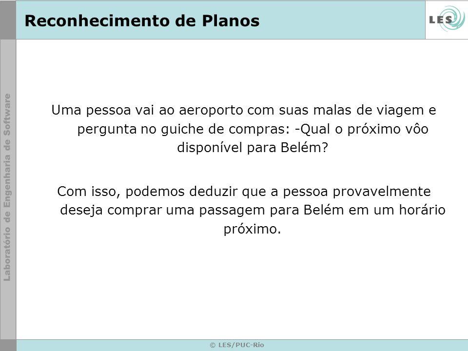 © LES/PUC-Rio Reconhecimento de Planos Uma pessoa vai ao aeroporto com suas malas de viagem e pergunta no guiche de compras: -Qual o próximo vôo dispo