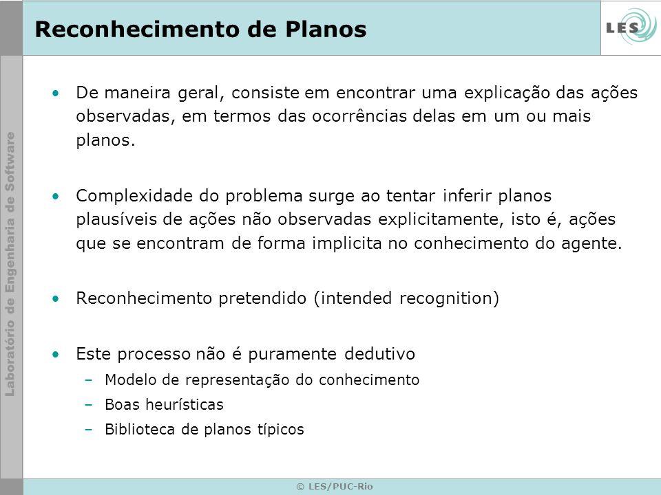 © LES/PUC-Rio Reconhecimento de Planos De maneira geral, consiste em encontrar uma explicação das ações observadas, em termos das ocorrências delas em