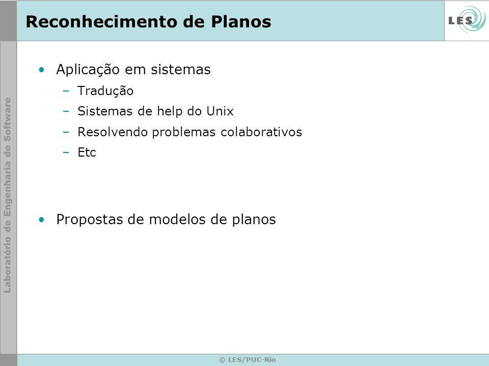 © LES/PUC-Rio Reconhecimento de Planos Aplicação em sistemas –Tradução –Sistemas de help do Unix –Resolvendo problemas colaborativos –Etc Propostas de