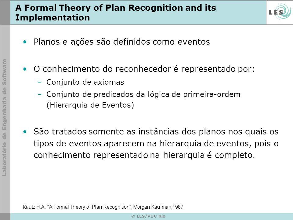 © LES/PUC-Rio A Formal Theory of Plan Recognition and its Implementation Planos e ações são definidos como eventos O conhecimento do reconhecedor é re
