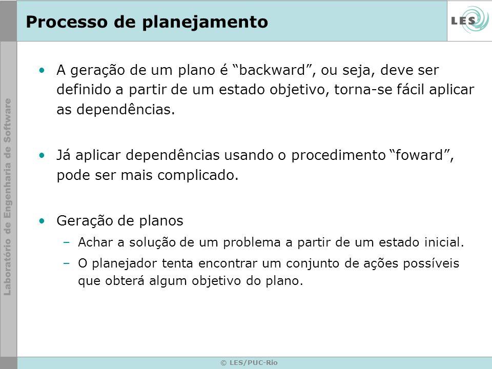 © LES/PUC-Rio Processo de planejamento A geração de um plano é backward, ou seja, deve ser definido a partir de um estado objetivo, torna-se fácil apl