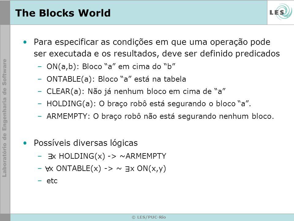 © LES/PUC-Rio The Blocks World Para especificar as condições em que uma operação pode ser executada e os resultados, deve ser definido predicados –ON(