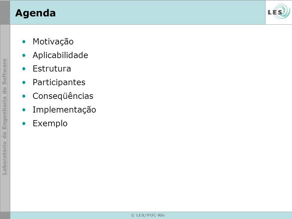 © LES/PUC-Rio Agenda Motivação Aplicabilidade Estrutura Participantes Conseqüências Implementação Exemplo