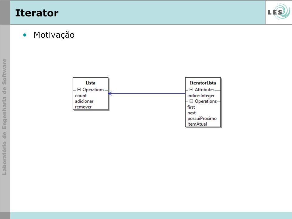 Motivação –Ao iterar por uma lista, não saberemos se ela é seqüencial ou hash. Iterator