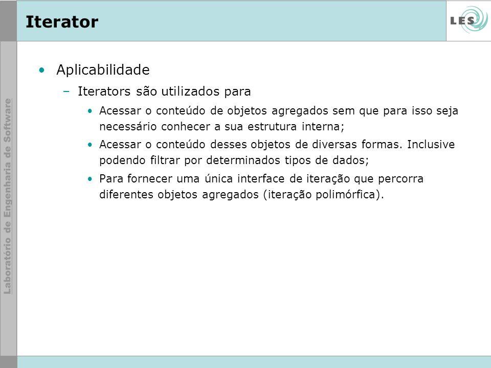Raphael do Vale Aplicabilidade –Iterators são utilizados para Acessar o conteúdo de objetos agregados sem que para isso seja necessário conhecer a sua