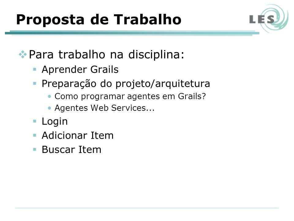 Proposta de Trabalho Para trabalho na disciplina: Aprender Grails Preparação do projeto/arquitetura Como programar agentes em Grails.