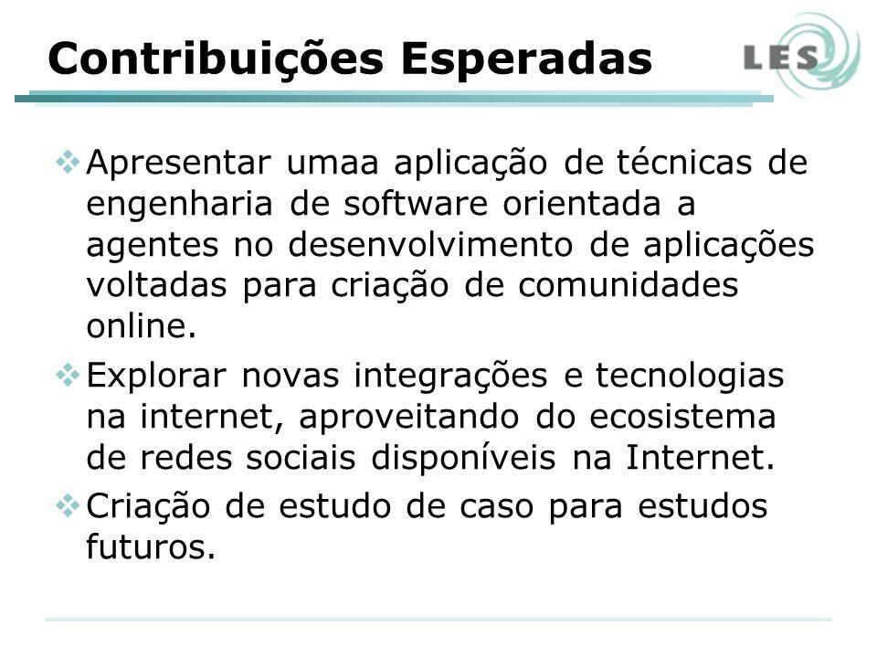 Contribuições Esperadas Apresentar umaa aplicação de técnicas de engenharia de software orientada a agentes no desenvolvimento de aplicações voltadas para criação de comunidades online.