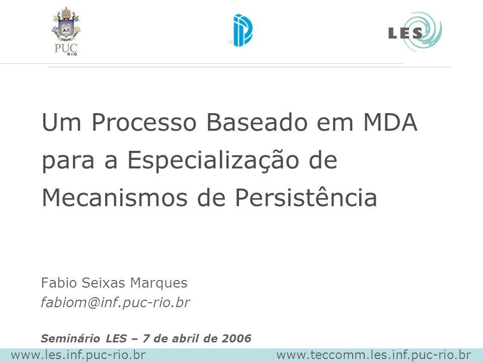 Um Processo Baseado em MDA para a Especialização de Mecanismos de Persistência Fabio Seixas Marques fabiom@inf.puc-rio.br Seminário LES – 7 de abril de 2006 www.les.inf.puc-rio.br www.teccomm.les.inf.puc-rio.br
