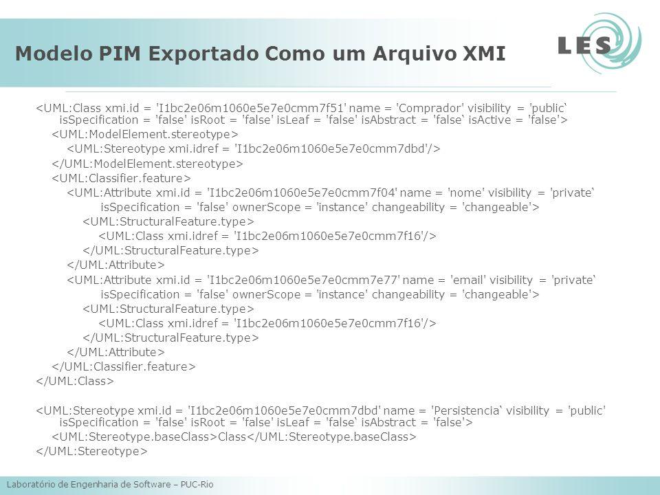 Laboratório de Engenharia de Software – PUC-Rio Modelo PIM Exportado Como um Arquivo XMI <UML:Attribute xmi.id = I1bc2e06m1060e5e7e0cmm7f04 name = nome visibility = private isSpecification = false ownerScope = instance changeability = changeable > <UML:Attribute xmi.id = I1bc2e06m1060e5e7e0cmm7e77 name = email visibility = private isSpecification = false ownerScope = instance changeability = changeable > Class