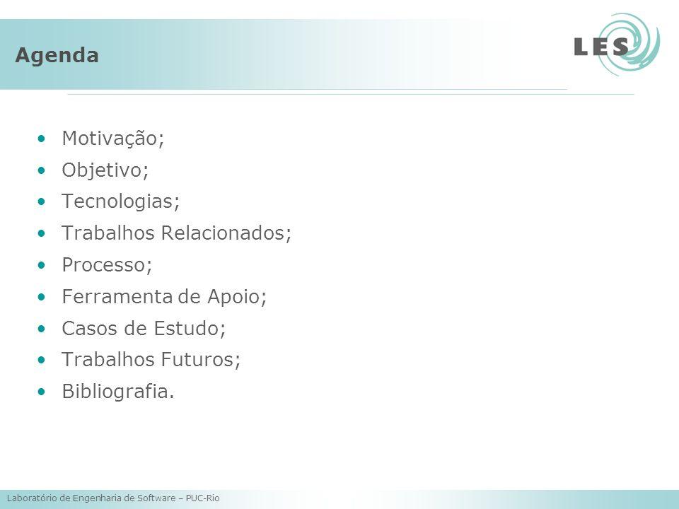 Laboratório de Engenharia de Software – PUC-Rio Agenda Motivação; Objetivo; Tecnologias; Trabalhos Relacionados; Processo; Ferramenta de Apoio; Casos de Estudo; Trabalhos Futuros; Bibliografia.