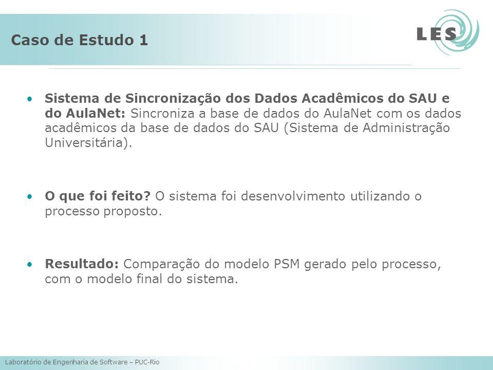 Laboratório de Engenharia de Software – PUC-Rio Caso de Estudo 1 Sistema de Sincronização dos Dados Acadêmicos do SAU e do AulaNet: Sincroniza a base de dados do AulaNet com os dados acadêmicos da base de dados do SAU (Sistema de Administração Universitária).