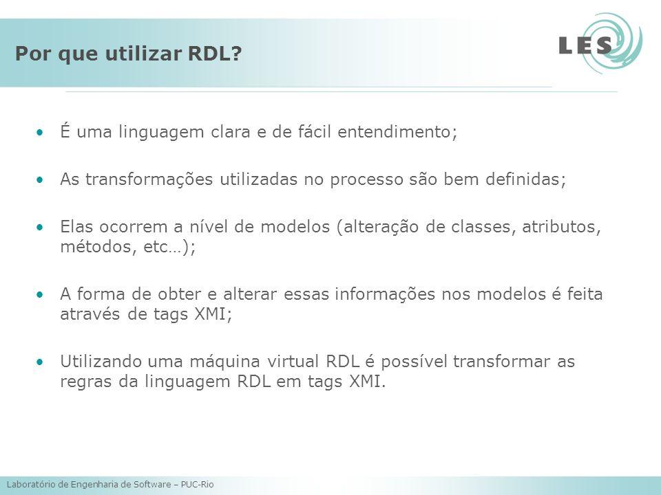 Laboratório de Engenharia de Software – PUC-Rio Por que utilizar RDL.