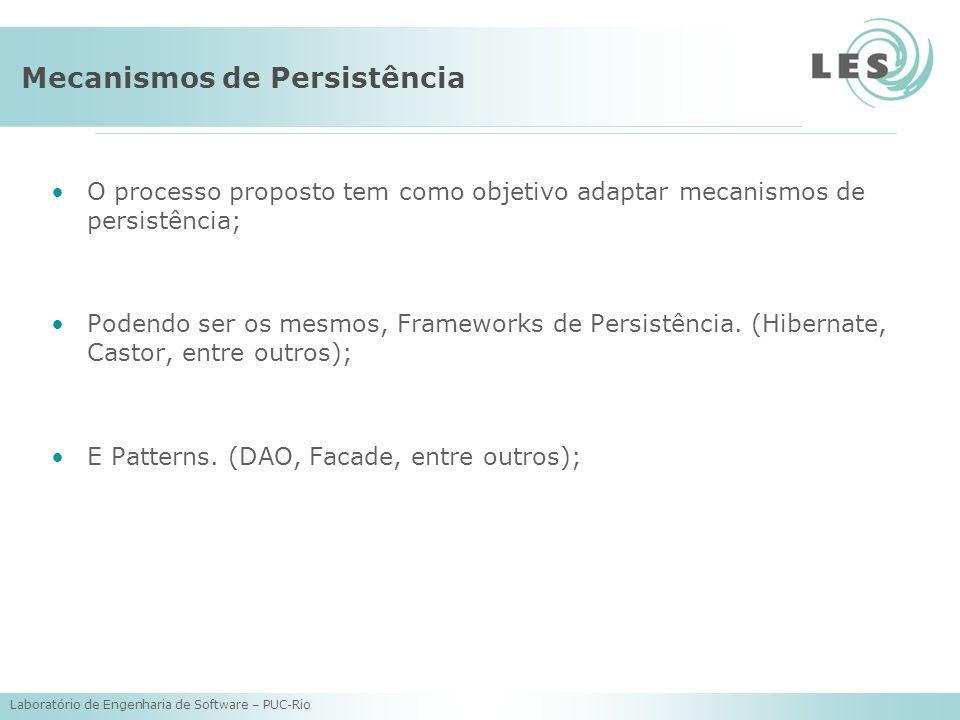 Laboratório de Engenharia de Software – PUC-Rio Mecanismos de Persistência O processo proposto tem como objetivo adaptar mecanismos de persistência; Podendo ser os mesmos, Frameworks de Persistência.