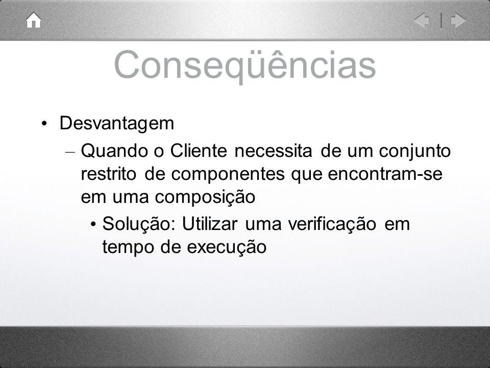 Conseqüências Desvantagem – Quando o Cliente necessita de um conjunto restrito de componentes que encontram-se em uma composição Solução: Utilizar uma