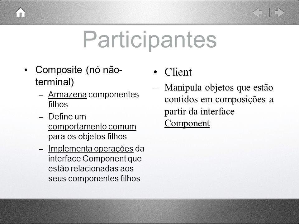 Participantes Composite (nó não- terminal) – Armazena componentes filhos – Define um comportamento comum para os objetos filhos – Implementa operações