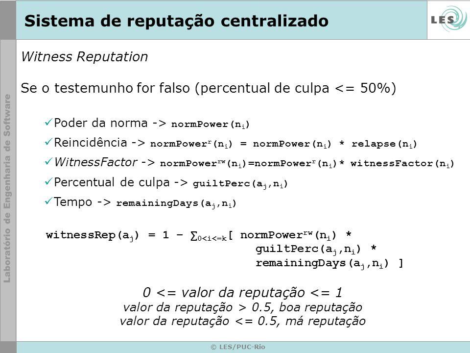 © LES/PUC-Rio Sistema de reputação centralizado Witness Reputation Se o testemunho for falso (percentual de culpa <= 50%) Poder da norma -> normPower(