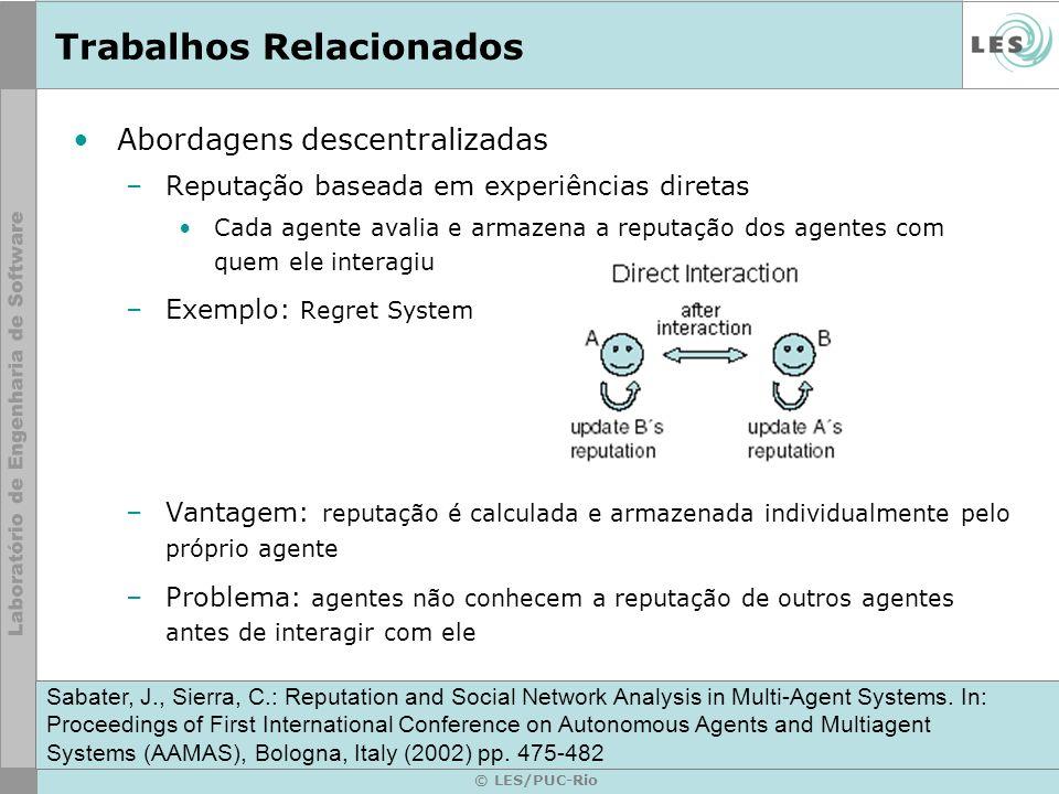 © LES/PUC-Rio Trabalhos Relacionados Abordagens descentralizadas –Reputação baseada em experiências diretas Cada agente avalia e armazena a reputação