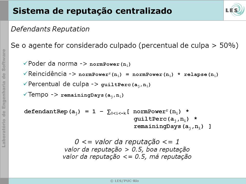 © LES/PUC-Rio Sistema de reputação centralizado Defendants Reputation Se o agente for considerado culpado (percentual de culpa > 50%) Poder da norma -