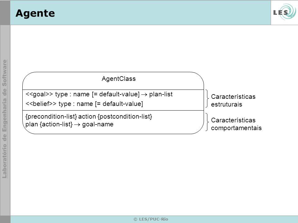 © LES/PUC-Rio Agente AgentClass > type : name [= default-value] plan-list > type : name [= default-value] {precondition-list} action {postcondition-list} plan {action-list} goal-name Características estruturais Características comportamentais